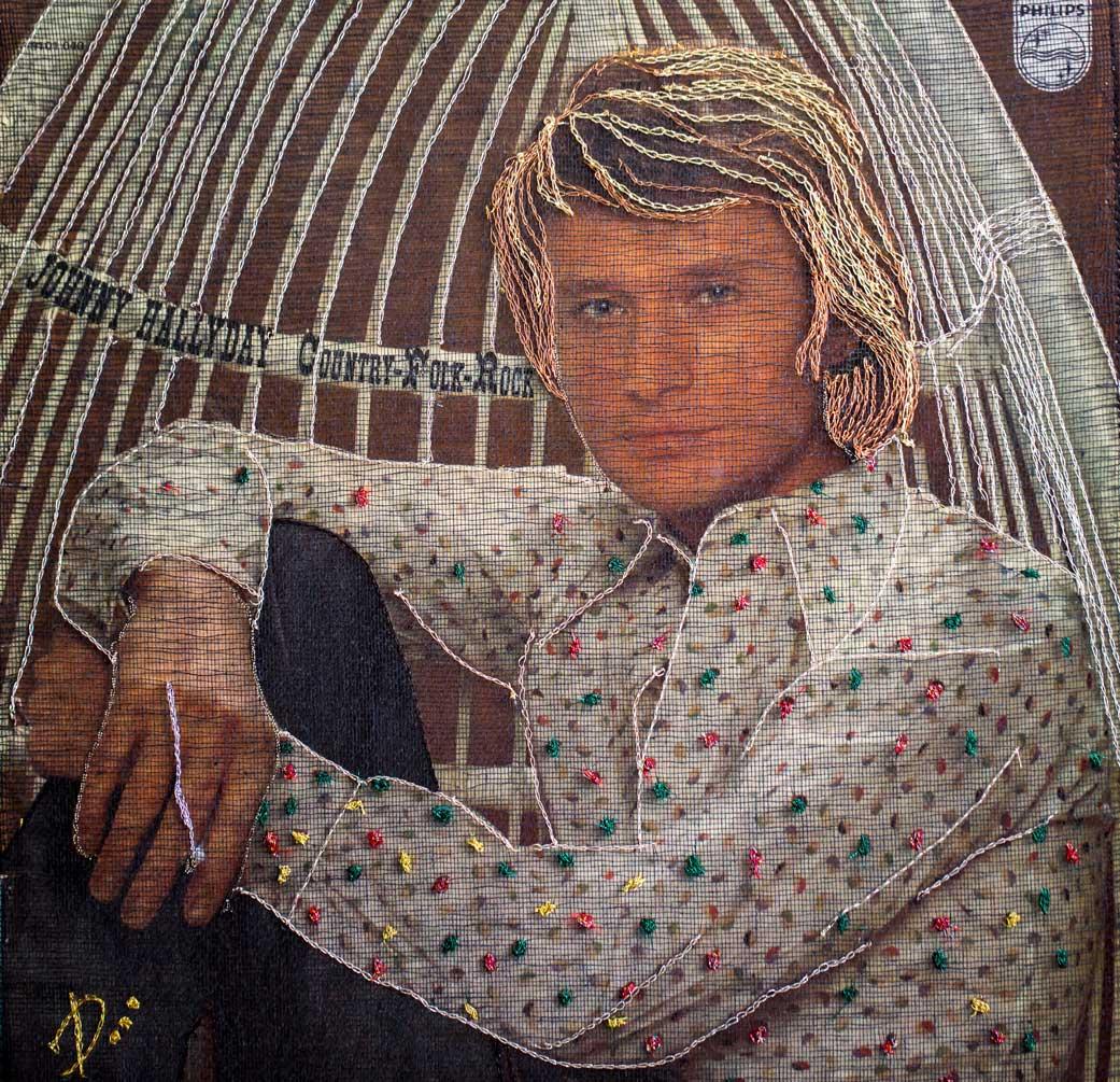 Delphine-Leverrier Johnny-Hallyday vinyle broderie