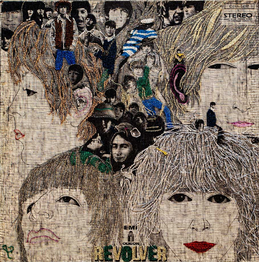 Delphine-Leverrier The-Beatles vinyle broderie